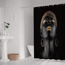 American Afro Shower Curtains African Black Girl Women with Golden Lips Curtains for Bathroom  3D printing Waterproof Home Decor