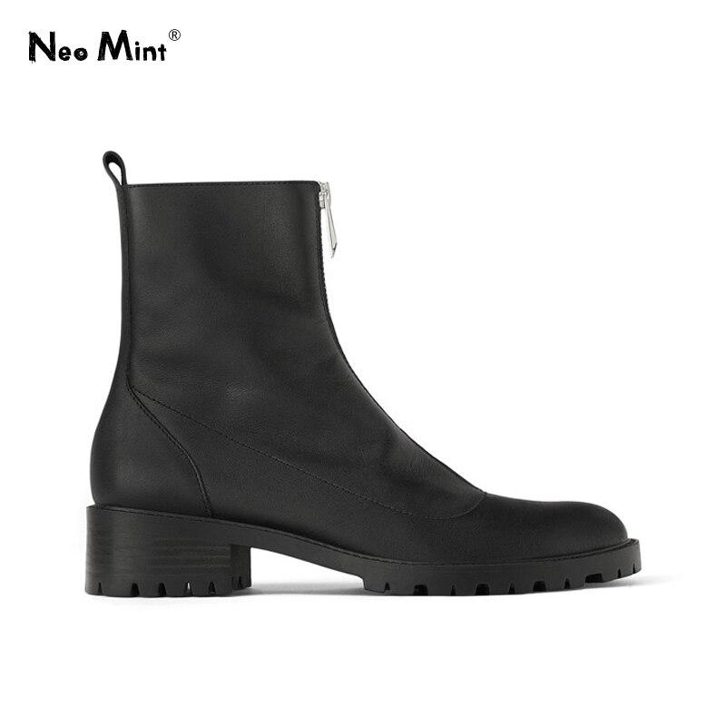 Femmes plate-forme Martin bottes avant à glissière bottines pour femmes 2019 mode talons épais femmes bottes plate-forme hiver chaussures femme