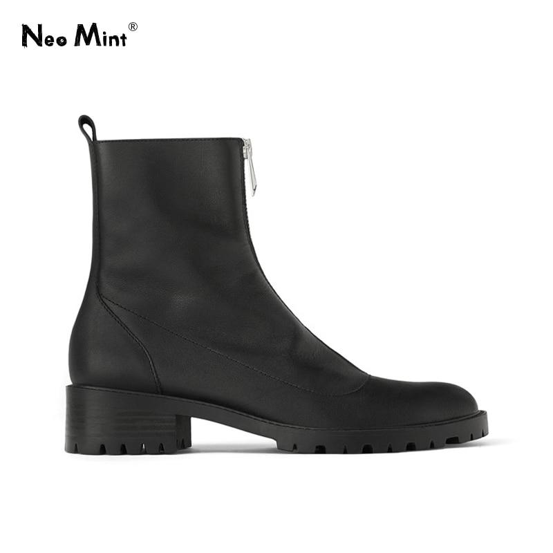 Women Platform Martin Boots Front Zipper Ankle Boots for Women 2019 Fashion Chunky Heels Women Boots Platform Winter Shoes Woman