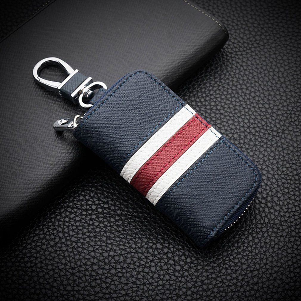 Leather Striped Zipper Bag Car Key Case Universal Personalized Customized Remote Control Case for Men and Women (Blue)