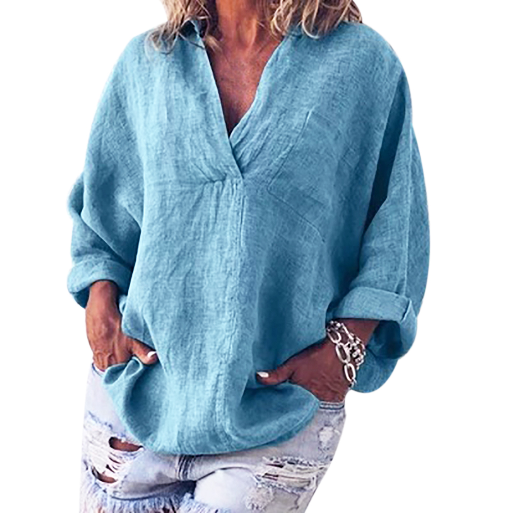 LOOZYKIT  Women Casual Shirt Solid Color V Neck Long Sleeve Loose Blouses Button Top Cotton Linen Simple Basic 2019