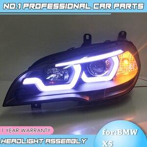 Image 2 - car accessories for BMW X5 e70 2007 2013 Headlight for BMW X5 Head Lamp Auto LED DRL Double Beam H7 HID Xenon bi xenon lens