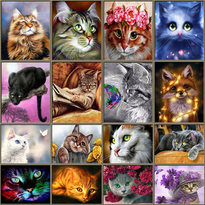 5D Diamond Mosaic Cute Cats DIY Full Round Diamond Embroidery Animals Diamond Painting Cross Stitch Rhinestone Cat Series