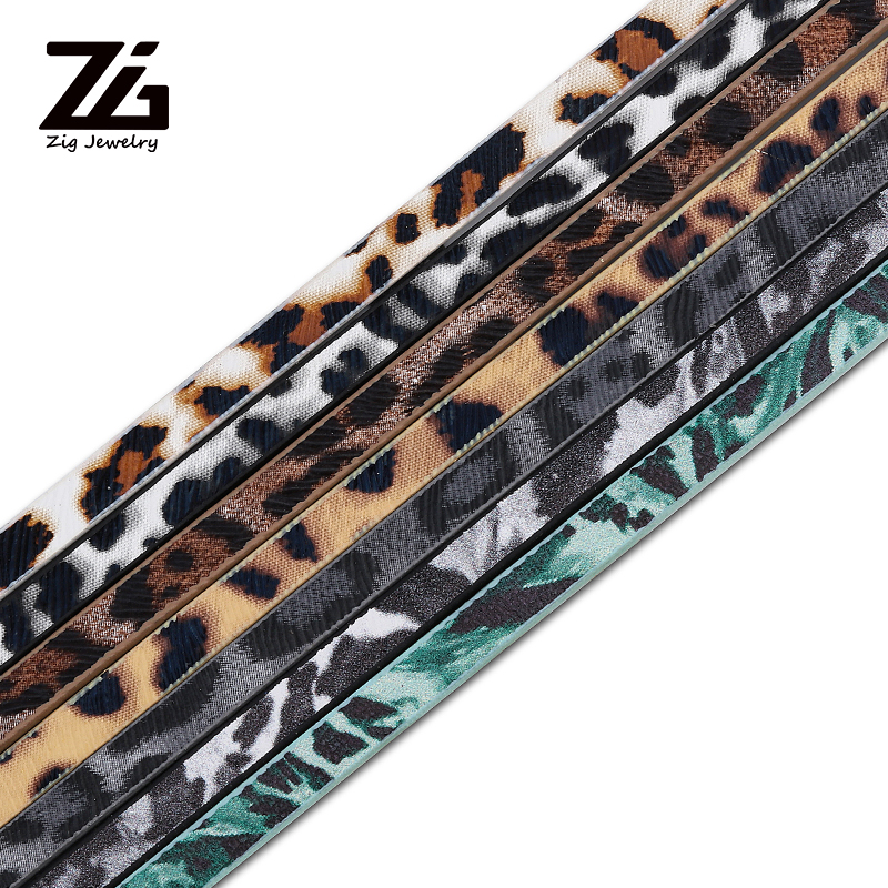 ZG 5MM Flat Leather Cord Rope/Leopard Style/accessories Parts/jewelry Findings/handmade/jewelry Making/bracelet Material