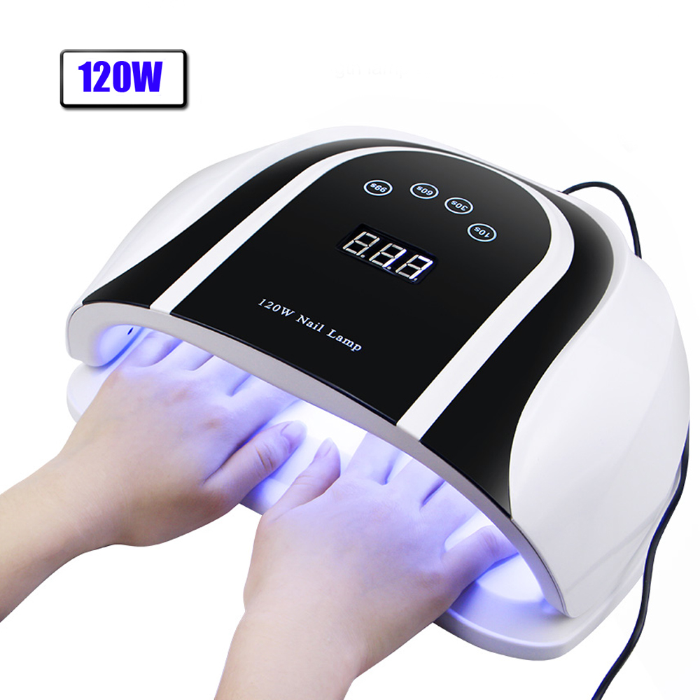 Pro 120W UV Lamp LED Nail Lamp High Power For Nails All Gel Polish Nail Dryer Auto Sensor Sun Led Light Nail Art Manicure Tools(China)