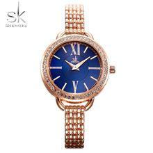Женские Водонепроницаемые кварцевые часы с браслетом и кристаллами