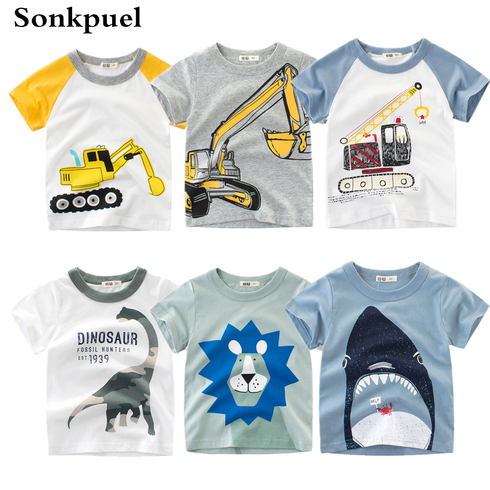 1-8Y Kids Boys T-shirt New Excavator Design Baby Cotton Tops Summer Clothing Toddler Fashion T-shirt Cute Children Play Clothes