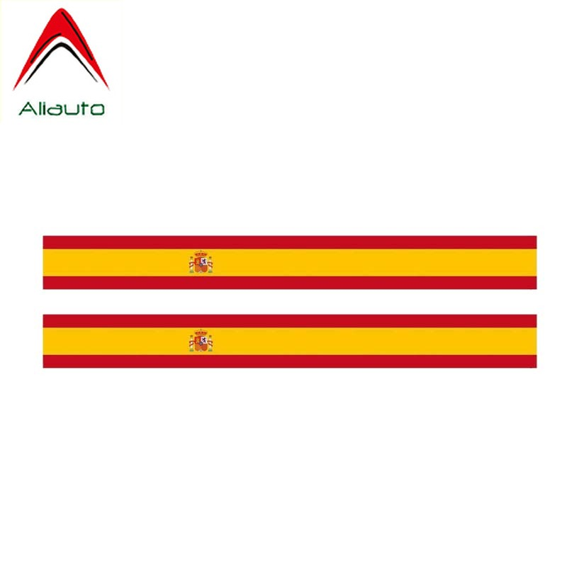 Aliauto 2 X Personality Stripe Spain Flag Car Sticker Automobile Motorcycles Decoration Decal Accessories Vinyl,17cm*2cm