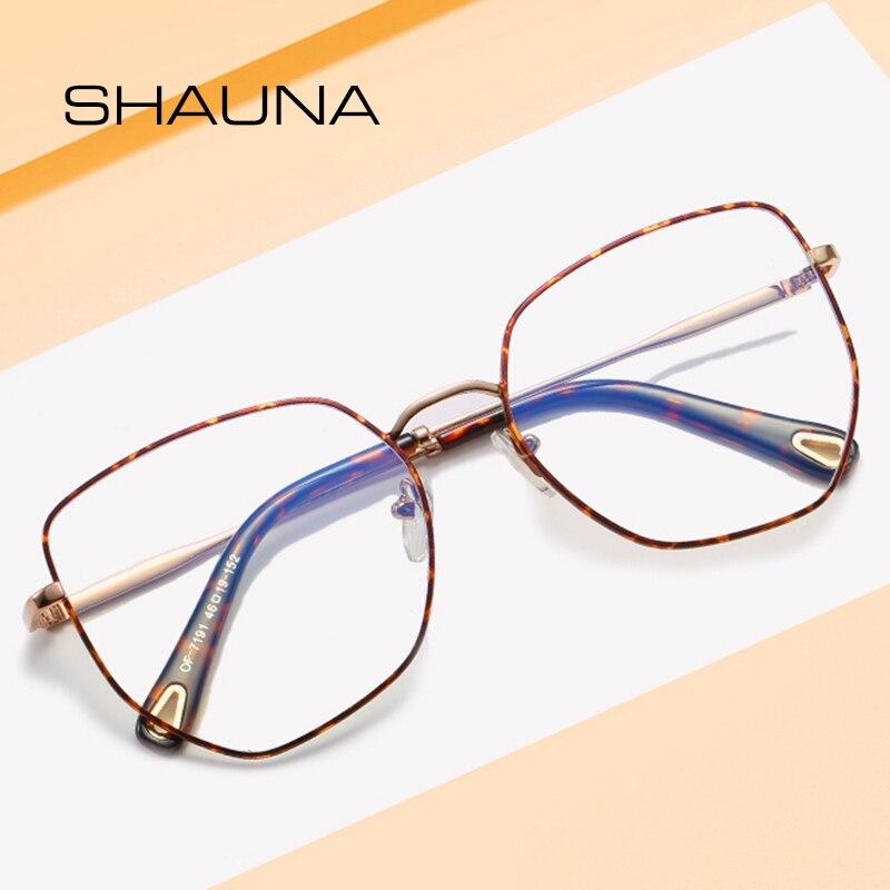 SHAUNA Retro Classic Men Women Metal Frame Glasses Eyewear Vintage Square Clear Lens Anti-Blue Ray Eyeglasses