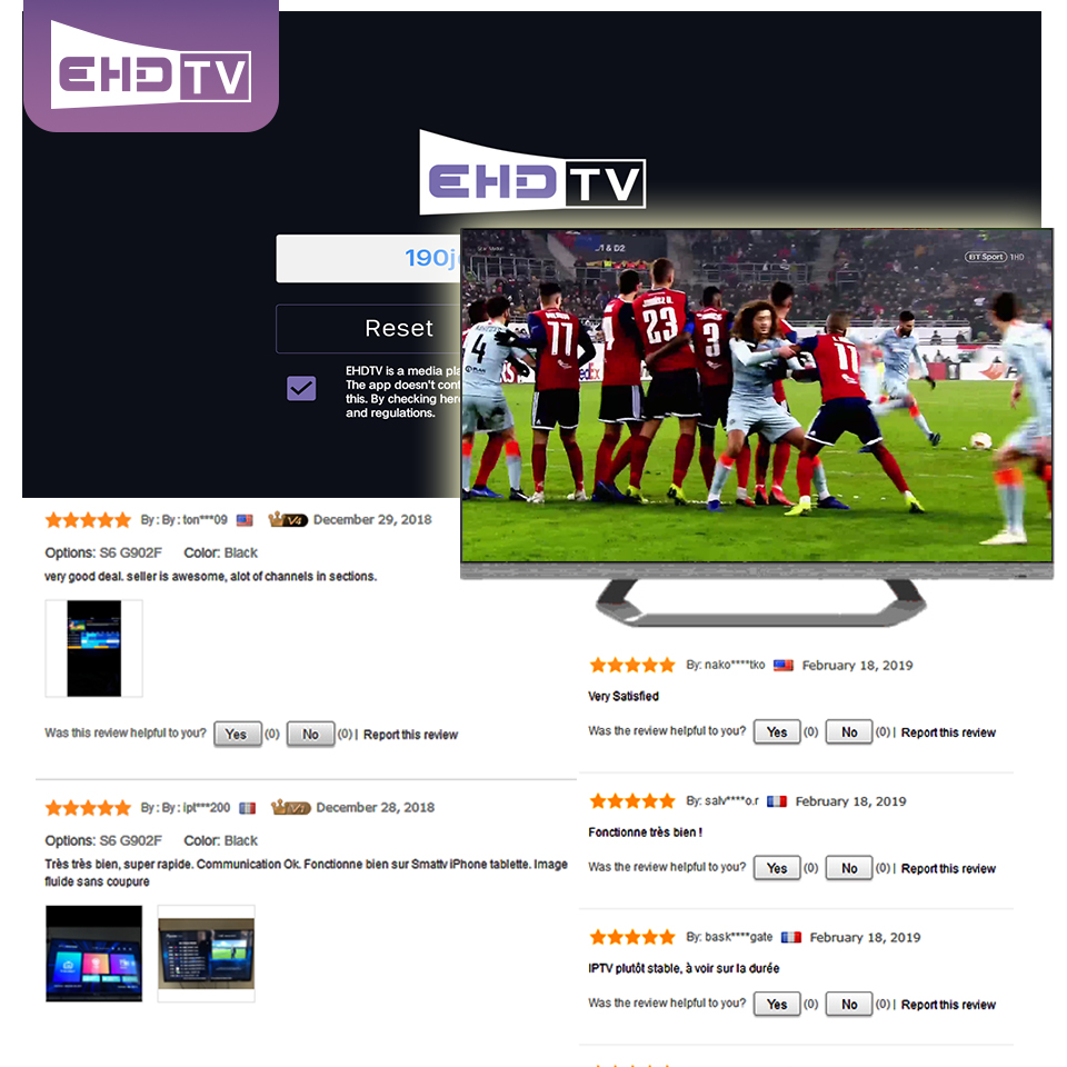 Купить с кэшбэком EHD TV Pro Best Europe France IPTV french UK Italia Spain Germany Sweden iptv Subscription 2500+ Live 1500+ VOD test code m3u