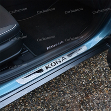 for car styling hyundai kona 2018 accessories Ultra-thin stainless steel door sill scuff plate protector auto sticker 2017-2019 car door sill scuff plate for hyundai kona kauai 2018 stainless steel door sill protector sticker for new kona kauai