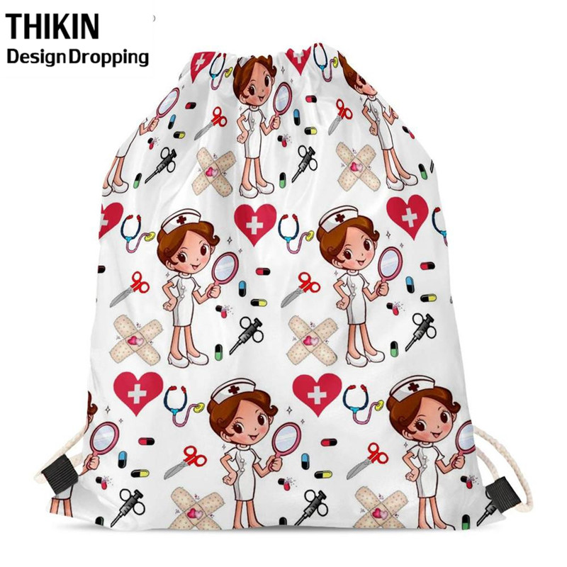 THIKIN Cartoon Nurse Girls Printing Drawstring Bag Children Backpacks For Teenager Girl Custom Logo Bag Travel Women Backpack
