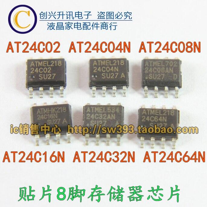 Оригинальный 10 шт./лот AT24C02 AT24C04 AT24C08 AT24C16 AT24C32 AT24C64N SOP-8