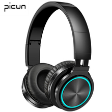 Picun B12 블루투스 5.0 헤드폰 무선 36H 접이식 헤드셋 아이폰 Xiaomi PC 용 마이크와 LED 라이트 스테레오 게임 이어폰