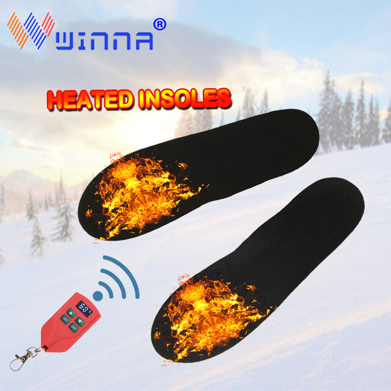 Winter Unisex Insoles for Feet Electric Heated Shoe Insoles with Wireless Remote Control Heating Insoles Outdoor Sports Skiing
