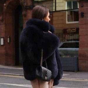 Image 5 - Fashion Stand Collar Women Genuine Fox Fur Coats Thick Warm Natural Full Pelt Blue Fox Fur Jacket Real Fur Overcoats Winter 2020