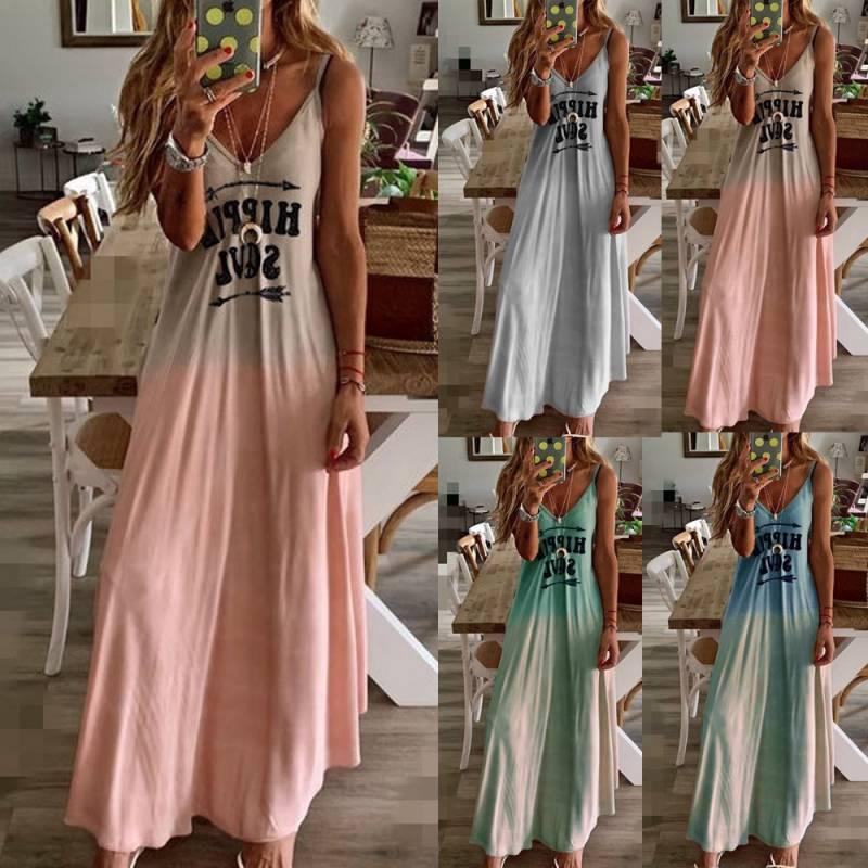 Sleeveless slim woman party dress v-neck fashion long summer beach dress casual women dresses sundress vestidos Robe Femme