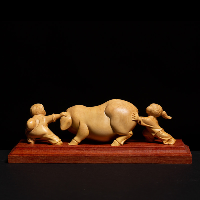 Chinese Country Style Two Children Playing with Pig Animal Sculpture Gothic Boxwood Miniature Creative Feng Shui Ornaments - 3
