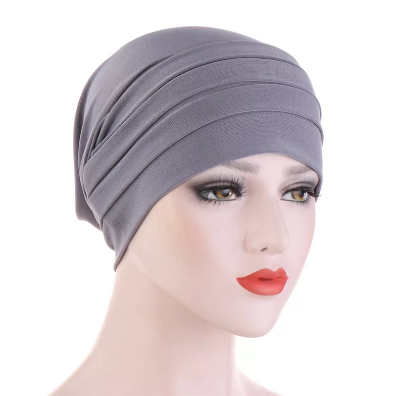 2020 New Turbans For Women Arab Headwrap Hat Bonnet Soild Color Underscarf Caps Female Inner Hijabs Turban Femme Musulman