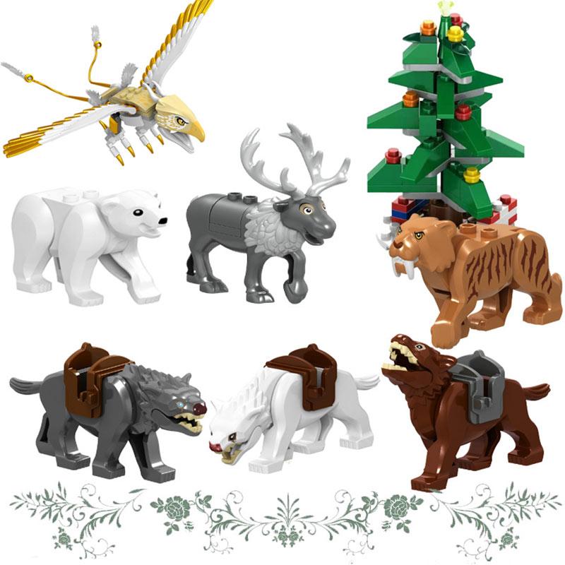 Duploed Animal Series Snow Panther Crocodile Jurassic World Model Figures Building Blocks Dinosaur Toys For Childrens