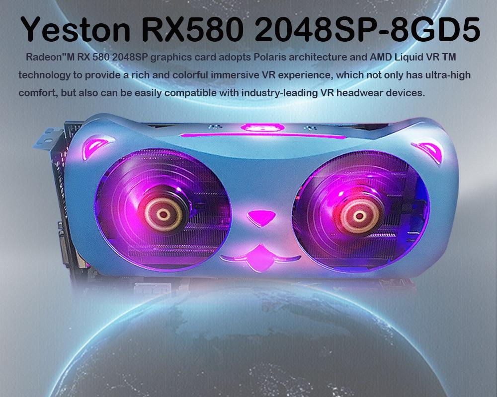 Yeston Radeon RX580 2048SP-8G GDDR5  Video Gaming Graphics Card External Graphics Card For Desktop CUTE PET PCI Express X16 3.0