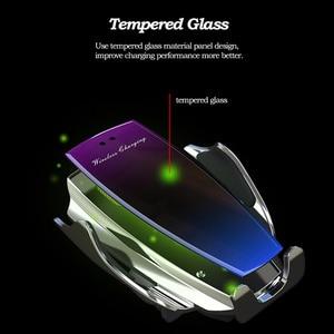 Image 4 - רכב אלחוטי מטען עבור iPhone XS Max XR X 8 סמסונג S9 S8 S10 אוטומטי אינפרא אדום חיישן צ י 10W מהיר טעינת מכונית טלפון בעל