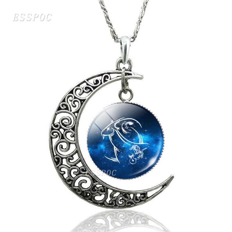 12 קבוצות כוכבים מזלות הורוסקופ כוכבים סהר ירח שרשרת זכוכית קרושון תכשיטי תליון אביזרי נשים יום הולדת מתנות