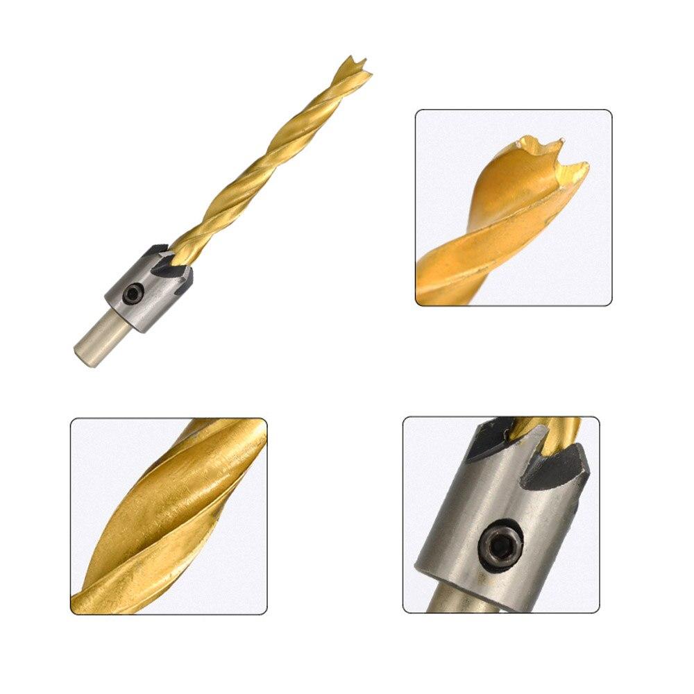 4Pcs//7Pcs HS 3-10mm Countersink Drill Bit Set Titanium Coated Wood Drill Bit