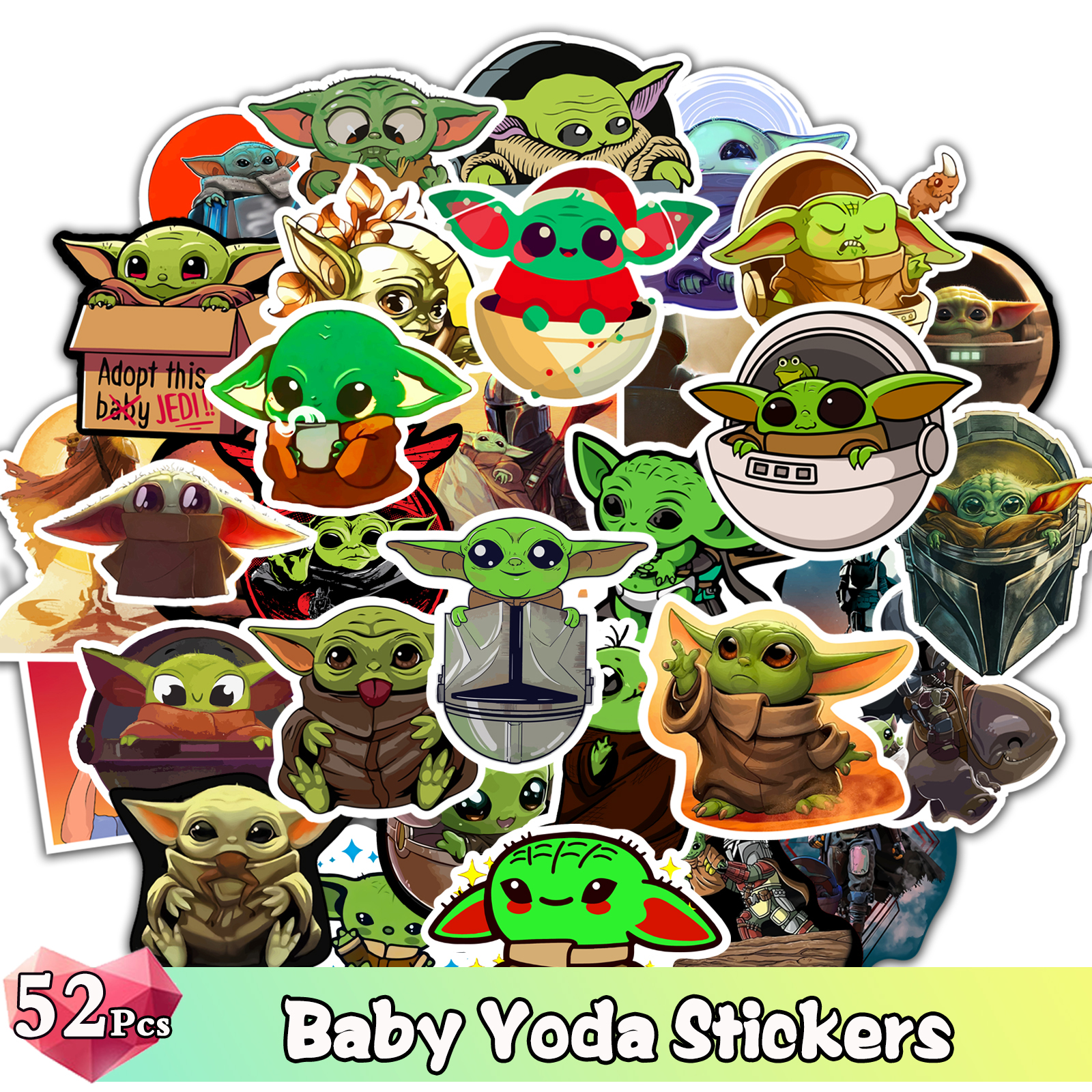 52 Pcs Baby Yoda Stickers For Star Wars Sticker For Skateboard Luggage Scrapbooking Laptop For The Mandalorian Cartoon Decal Toy