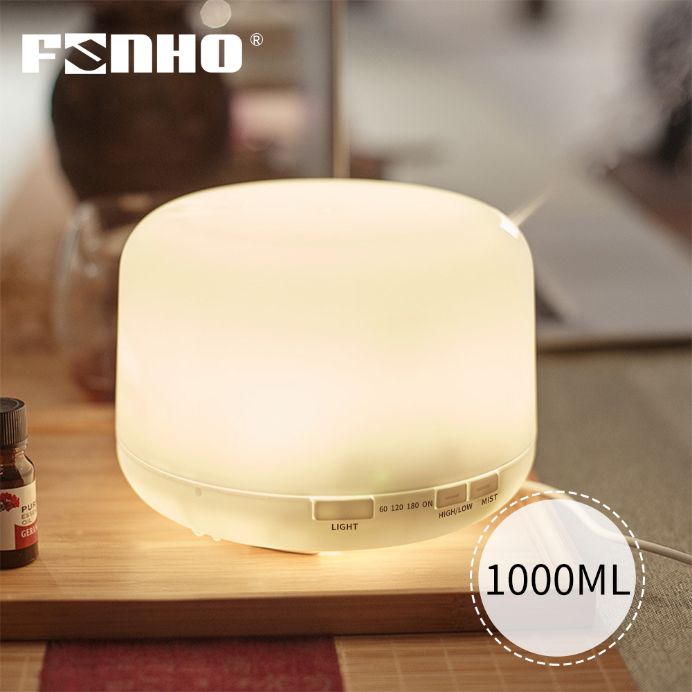 FUNHO 1000ml Aroma Essential Oil Diffuser Ultrasonic Air Humidifier Mist Maker 7 Color Changing LED Lights For Office Home
