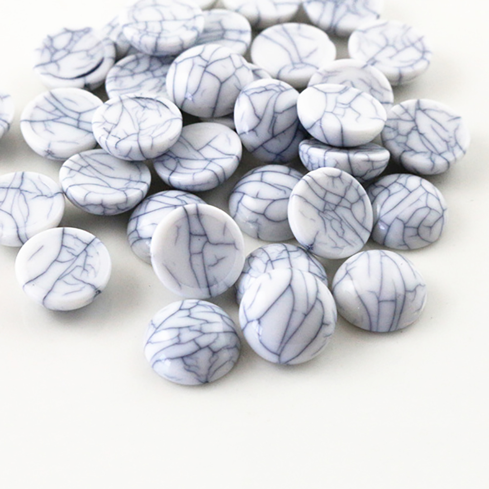 New Fashion 40pcs 12mm White Color Crack Style Flat Back Resin Cabochons Cameo  G6-10