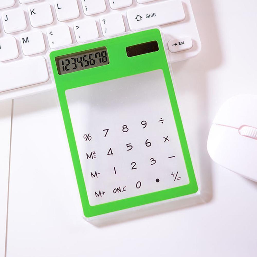 Полезные ЖК-дисплей 8-значный Экран ультра тонкий прозрачный Ясно солнечной CalculatorStationery научный калькулятор для офиса - Цвет: C
