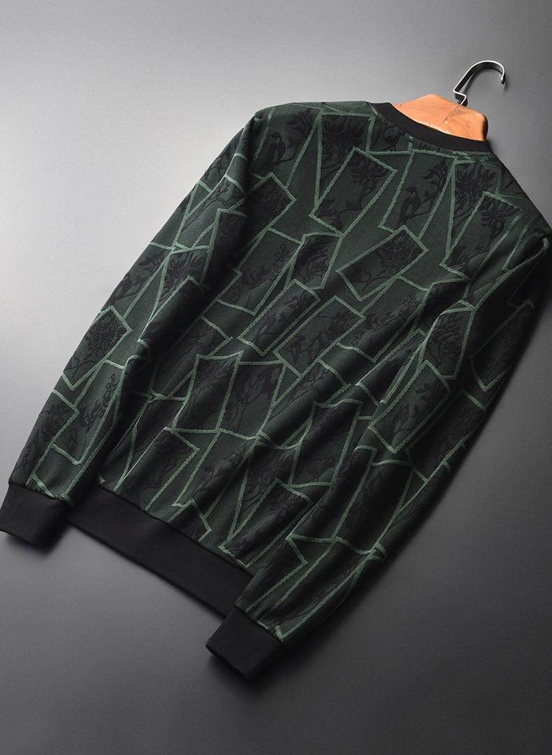 Add Velvet Thick Sweatshirt Men Luxury Round Collar Contrast Color Sweatshirt Male Autumn Winter Thick Mens Hoodies 4XL - 2