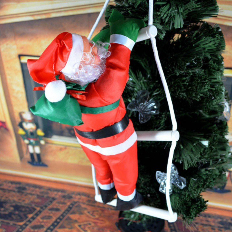 2019 Christmas Santa Claus Climb Ladder Hanging Decoration Festival Party Supplies Hanging Decoration in Pendant Drop Ornaments from Home Garden