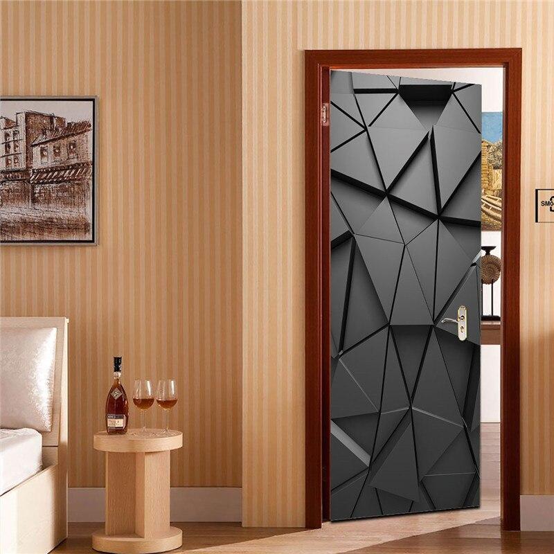 Многоразовые 3D наклейки для дверей, водонепроницаемые ПВХ самоклеющиеся обои для дверей, пилинг и палка, DIY деревянные наклейки для спальни