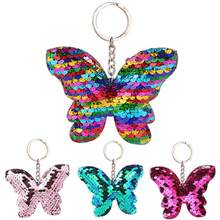 Car Sparkling Colorful Sequins Butterfly Shape Pendant Keychain Car Key Ring Holder Hanging Decoration Keychain Sequins Decor 12(China)