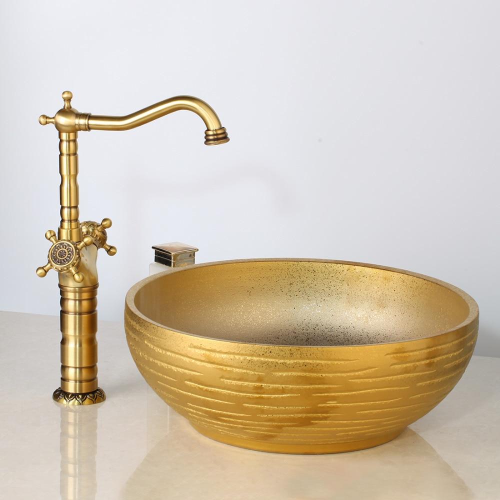 Wash Basin Vessel Sink Antique Br