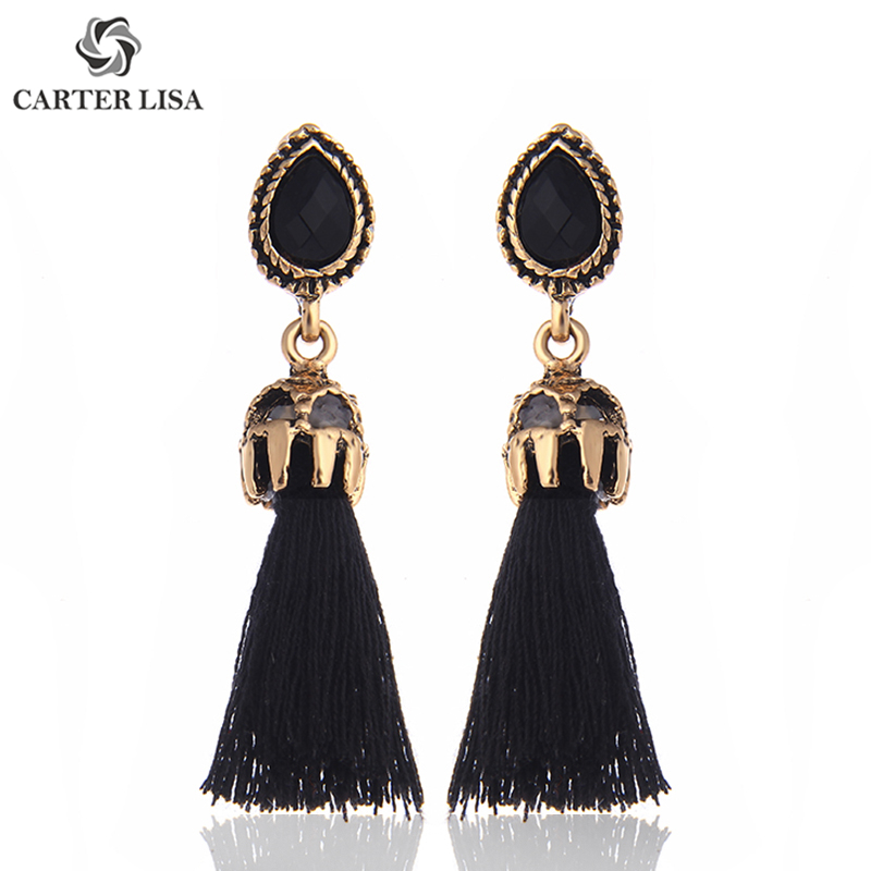 CARTER LISA Fashion Jewelry Long Pendientes Vintage Earrings Crystal Blue Stone Tassel  Metal Chain Earring For Women Brincos
