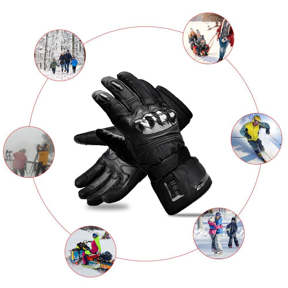 Перчатки с цифровым дисплеем с электрическим подогревом, кожаные водонепроницаемые теплые электрические перчатки, зимние уличные мужские и женские перчатки для катания на лыжах - 5