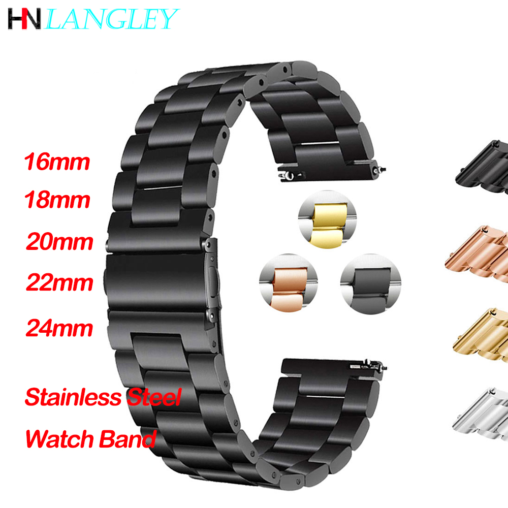General Quick Release Watch Strap Solid Stainless Steel Watch Band Replacement Strap 16mm 18mm 20mm 22mm 24mm Metal Bands