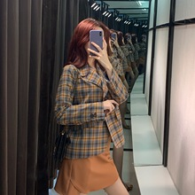 2019 Autumn New Women Suit Plaid Loose Profile Western Style Jacket Button Single Breasted Coat