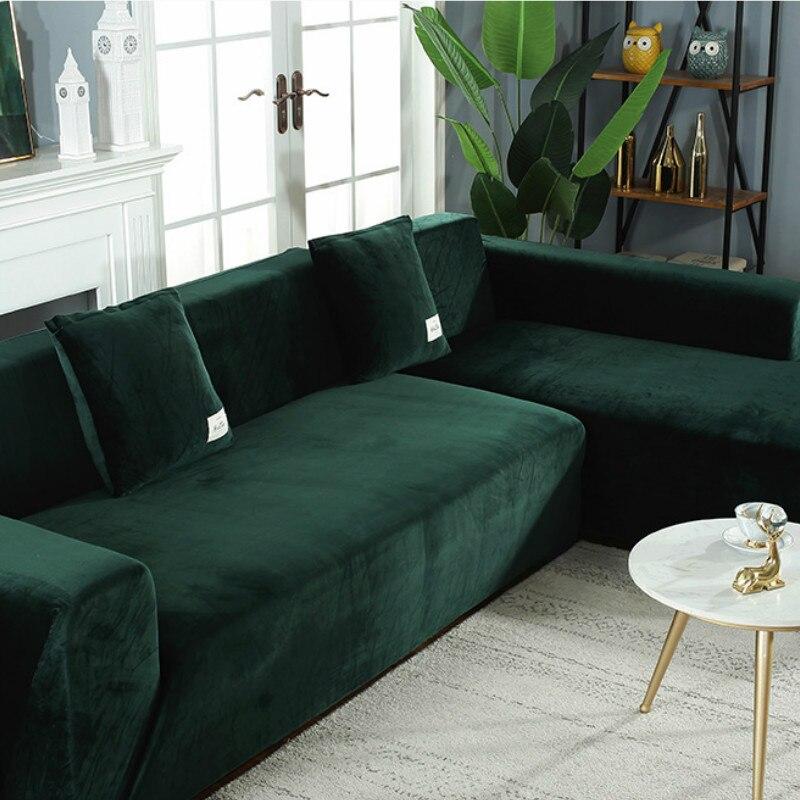 velvet plush l shaped sofa elastic