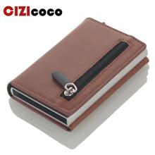 Cizicoco Credit Card Holder 2020 New Aluminum Box Card Wallet RFID PU Leather Pop Up Card Case Magnet Carbon Fiber Coin Purse