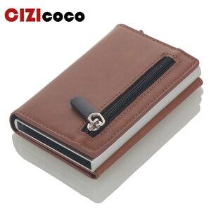 Image 1 - Cizicoco Kreditkarte Halter 2020 Neue Aluminium Box Karte Brieftasche RFID PU Leder Pop Up Karte Fall Magnet Carbon Faser geldbörse
