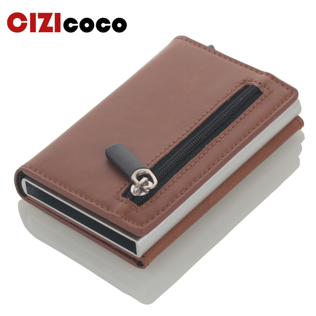 Cizicoco tarjetero de aluminio con caja de aluminio, billetera RFID de cuero PU, billetera Pop Up con imán de fibra de carbono, 2020