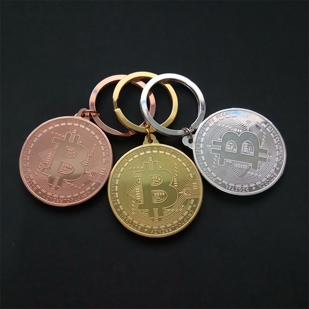 Gold Plated Bitcoin Coin Key Ring Collectible Gift Casascius Bit Coin BTC Coin Art Collection Physical Commemorative Key Chain-3