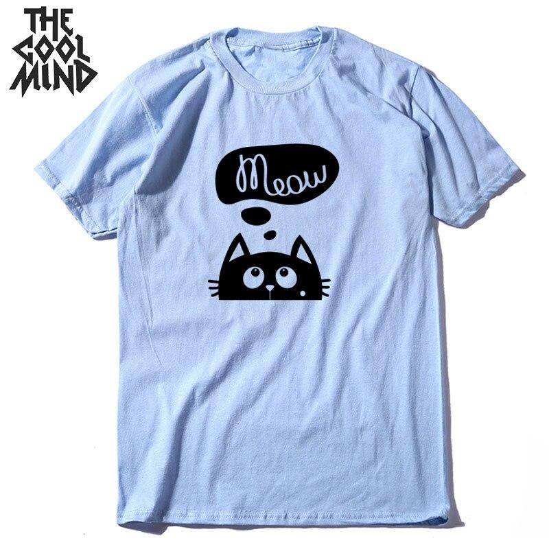 COOLMIND Top Quality Cotton Summer Knitted Men T Shirt Short Sleeve Lovely Cat Print Men Tshirt O-neck T-shirt Male Men Tees