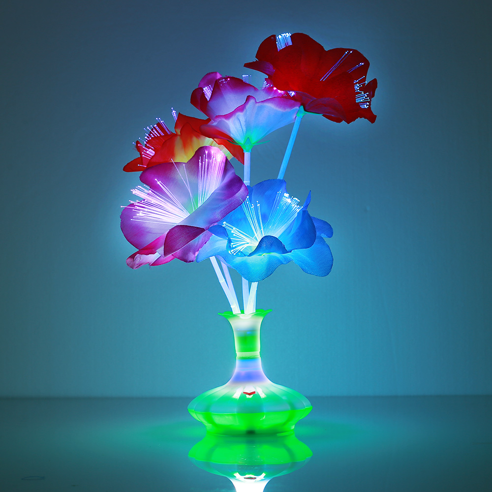 Лампа из оптического волокна, светодиодная лампа из оптоволокна, цветочное освещение, Красивая красочная пластиковая ваза Kapok, Рождественская фотокомната