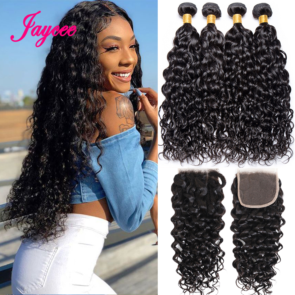 Jaycee Water Wave Bundles With Closure Peruvian Hair Weave Bundles With Closure Remy Human Hair 3 Bundles With Closure