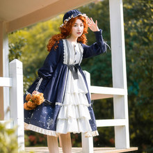 Robe Lolita douce automne hiver à manches longues détachable col montant princesse Lolita robes Cosplay Loli Cos(China)